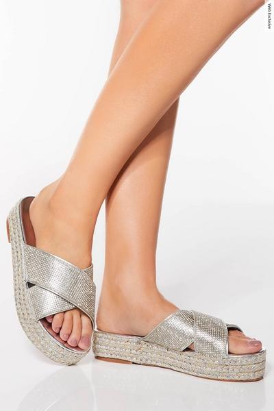 Silver Diamante Flatforms